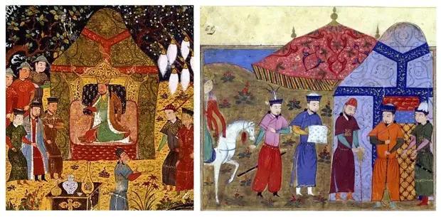 Изображения юрт на средневековых миниатюрах
