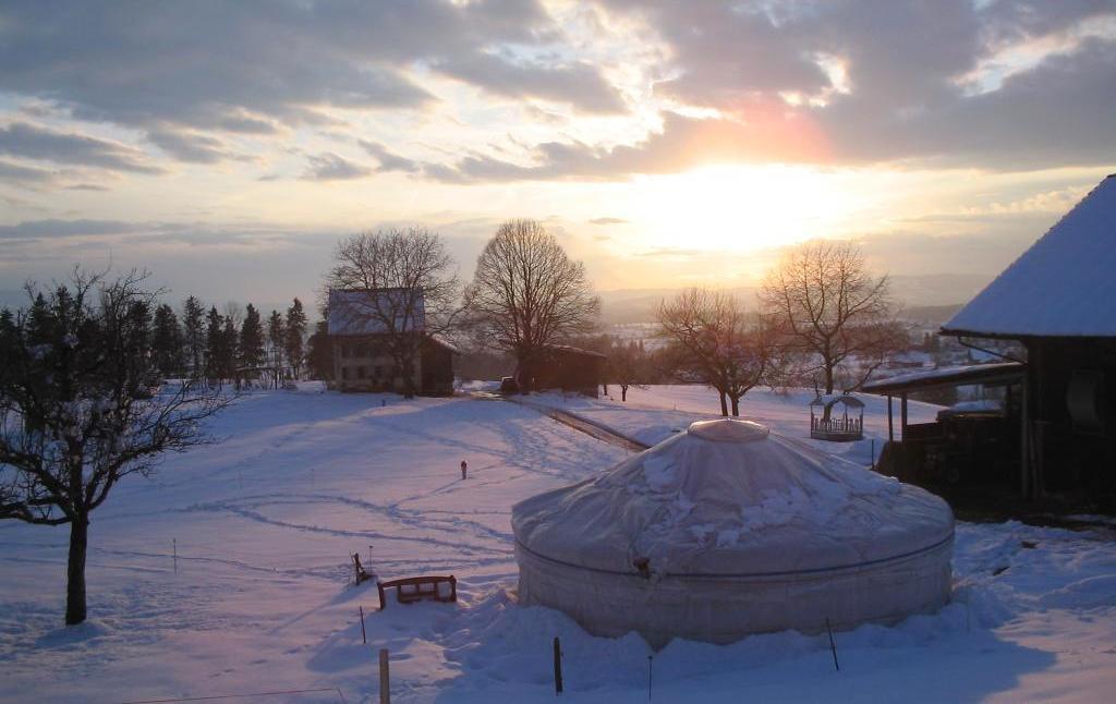 Юрта с полиэтиленовым чехлом зимой 2006 года